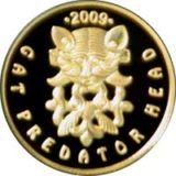 Кошачий хищник с оленями, Казахстан, 50 тенге — золотая монета