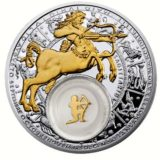 Знаки Зодиака — Стрелец — серебряная монета с золотом