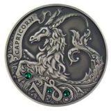 Зодиакальный гороскоп — Козерог — серебряная монета с кристаллами Сваровски
