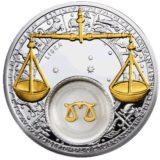 Знаки Зодиака — Весы — серебряная монета с золотом