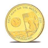 Первый человек на Луне — Острова Кука — золотая монета
