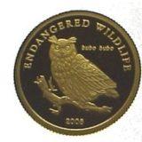 Сова — Монголия — золотая монета