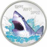 Опасные животные — Большая белая акула — 2007 — Тувалу — серебряная монета
