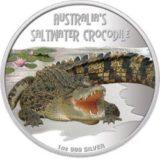 Опасные животные — Солоноводный крокодил — 2009 — Тувалу — серебряная монета
