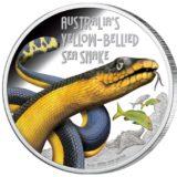Опасные животные — Морская желтобрюхая змея — 2013 — Тувалу — серебряная монета
