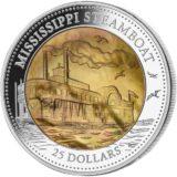 Паром Миссисипи — Острова Кука — 2015 — серебряная монета (5 унций) с перламутром