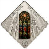 Святые окна: Собор Святого Патрика в Нью-Йорке — Палау — 2011 — серебряная монета с витражным стеклом