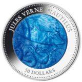 Наутилус: подводная лодка Капитана Немо (Жюль Верн) — Острова Кука — 2014 — серебряная монета (5 унций) с перламутром