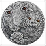 Семья диких животных: Тигры (тигрица и тигренок) — Ниуэ — серебряная монета с кристаллами