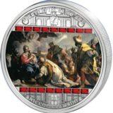 Шедевры мирового искусства — Поклонение королей (Николо Бамбини) — Острова Кука — серебряная монета