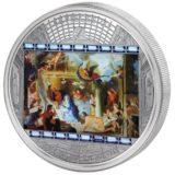 Шедевры мирового искусства — Поклонение пастухов (Ле Брун) — Острова Кука — серебряная монета