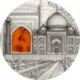 Тадж Махал (MINERAL ART) — Палау — серебряная монета с вставкой янтаря