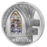Небесные окна: Кафедральный собор (Севилья) — Острова Кука — 2011 — серебряная монета с витражным стеклом
