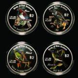 Птицы Новой Зеландии — О-ва Кука — 2005 — набор из 4 серебряных монет