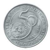 50 лет ООН, Казахстан, 20 тенге — нейзильбер (XF)