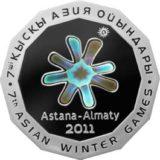 7-е зимние Азиатские Игры 2011 года, Казахстан, 500 тенге — серебряная монета