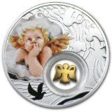 Символы удачи: ангел — Ниуэ — 2014 — серебряная монета с золотом