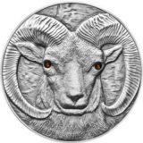 Архар — 2013 — Монголия — серебряная монета с кристаллами