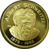 Альберт Швейцер (1875-1965) — Бенин — памятная золотая монета