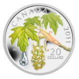 Кленовый лист с каплей — 2011 — Канада — серебряная монета с кристаллом Сваровски
