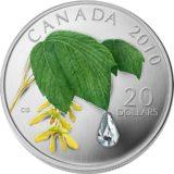 Кленовый лист с каплей — 2010 — Канада — серебряная монета с кристаллом Сваровски