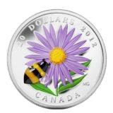 Пчела и астры — 2012 — Канада — серебряная монета с вставкой стекла Мурано