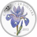 Голубой ирис — Канада — 2013 — серебряная монета с кристаллами Сваровски