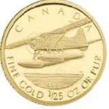 Самолет — Канада — золотая монета