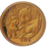 Панда редкая гигантская — Китай — золотая монета
