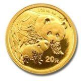 Панда с детенышем — Китай — золотая монета