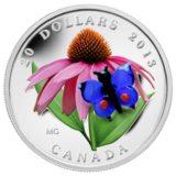 Бабочка и ромашки — 2013 — Канада — серебряная монета с вставкой стекла Мурано