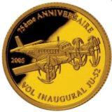 Самолет JU-52 (75-летие) — Конго — золотая монета
