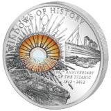 Окна истории: 100 лет Титанику — Острова Кука — серебряная монета с витражным стеклом