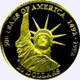 Статуя свободы  (500 лет Америке) — Острова Кука — золотая монета