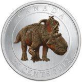 Доисторические создания — Динозавр пахиринозавр — 2012 — Канада — монета с эффектом флюоресценции