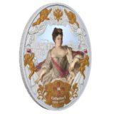 Российские императоры: Екатерина Первая — Ниуэ — 2014 — серебряная монета с позолотой и кристаллами