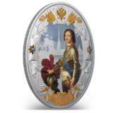 Российские императоры: Петр Первый — Ниуэ — 2014 — серебряная монета с позолотой и кристаллами