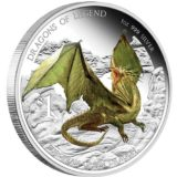 Драконы из легенд: Европейский зеленый дракон — Тувалу — 2013 — серебряная монета