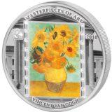 Шедевры мирового искусства — Подсолнухи (Винсент Ван Гог) — Острова Кука — серебряная монета