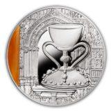 Загадки истории — Святой Грааль — Ниуэ — 2013 — серебряная монета с вставкой агата