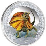 Знаменитые рептилии — Большая разноцветная ящерица — Тувалу — 2013 — серебряная монета