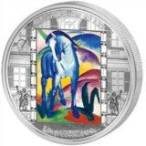 Шедевры мирового искусства — Синий конь (Франц Марк) — Острова Кука — серебряная монета