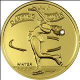 Фигуристка — Монголия — золотая монета с бриллиантом