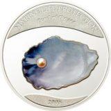 Жемчужина Синее небо — 2008 — Палау — серебряная монета с жемчужиной