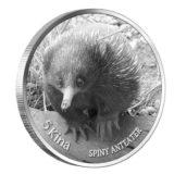Дикие животные Новой Гвинеи: Ехидна — Папуа Новая Гвинея — серебряная монета с 2 бриллиантами