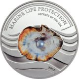 Жемчужина Морские тайны — 2013 — Палау — серебряная монета с жемчужиной