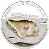 Жемчужина Принцесса моря — 2011 — Палау — серебряная монета с жемчужиной