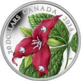 Красный триллиум — Канада — 2014 — серебряная монета с кристаллами Сваровски