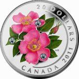Дикая роза — Канада — серебряная монета с кристаллами Сваровски