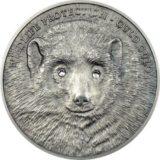 Росомаха — 2007 — Монголия — серебряная монета с кристаллами